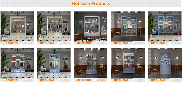 Store Tall Cabinet childrenswear display fixtures industrial style HC01G05