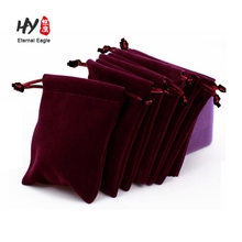 Fashion stylish custom drawstring made velvet pouchs