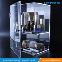 Clear Acylic Show Case for Cosmetics with Door Makeup Display Stand