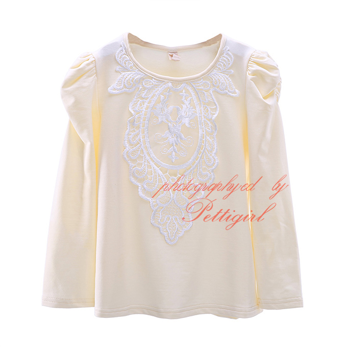Latest Yellow Girls T Shirt With Puffy Sleeve Cute Girl Lace Shirts Fashion Children Clothing GT41015-07