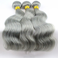 Best Selling Wholesale Cheap peruvian Gray human hair weave Grey remy hair extensions Grey human hair weaving