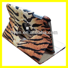 For Apple iPad Mini 1/2 360 roataing Tiger stripes pattern Leather Case ,auto sleep wake function for ipad mini 1/2