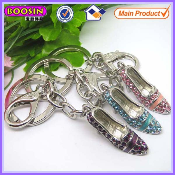 Fashion crystal lady high heel keychain metal accessories for bags #14930