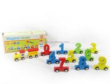 Wooden train with arabic numbers wooden train block toy educational toy for baby