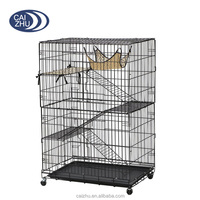 4-Tier Foldable Cat Home Cages Wire Pet Crate House with Hammock