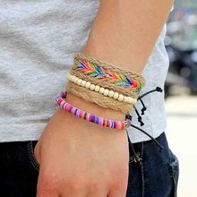 Yunnan colorful rope twine knitting beaded diy bracelet