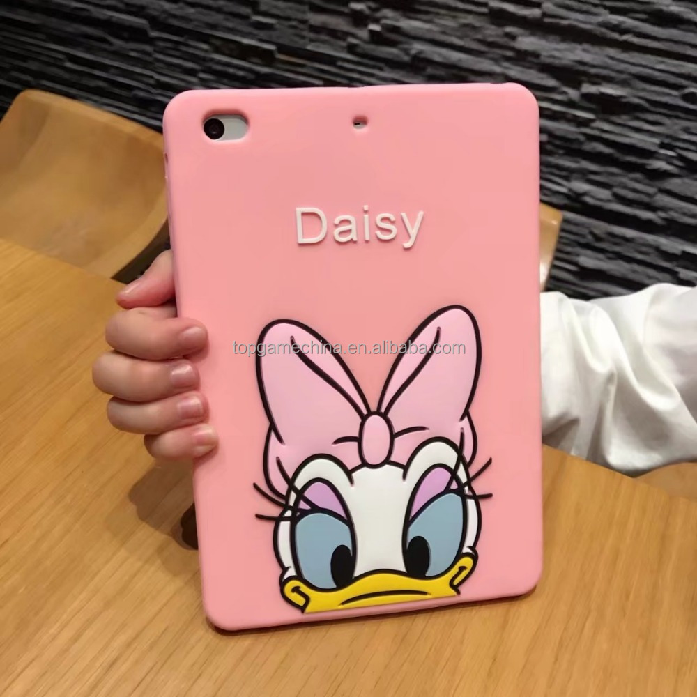 Cute 3D Silicone Cover For Ipad 2 3 4 5 Air ,Donald Duck Daisk Duck For Ipad mini 2 3 4 mini