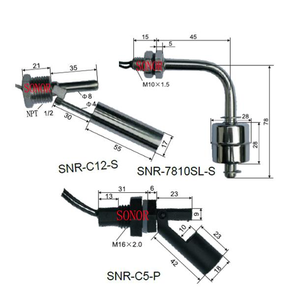 PP and stainless steel Horizontal float switch