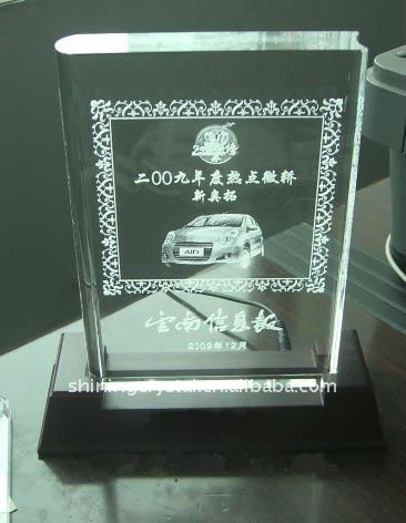 crystal book trophy with black color base