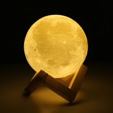 Rechargeable 3D Print Moon Lamp 2 Color Change Touch Switch Bedroom Bookcase 10CM Light Home LED Night light 3D Print Moon Lamp