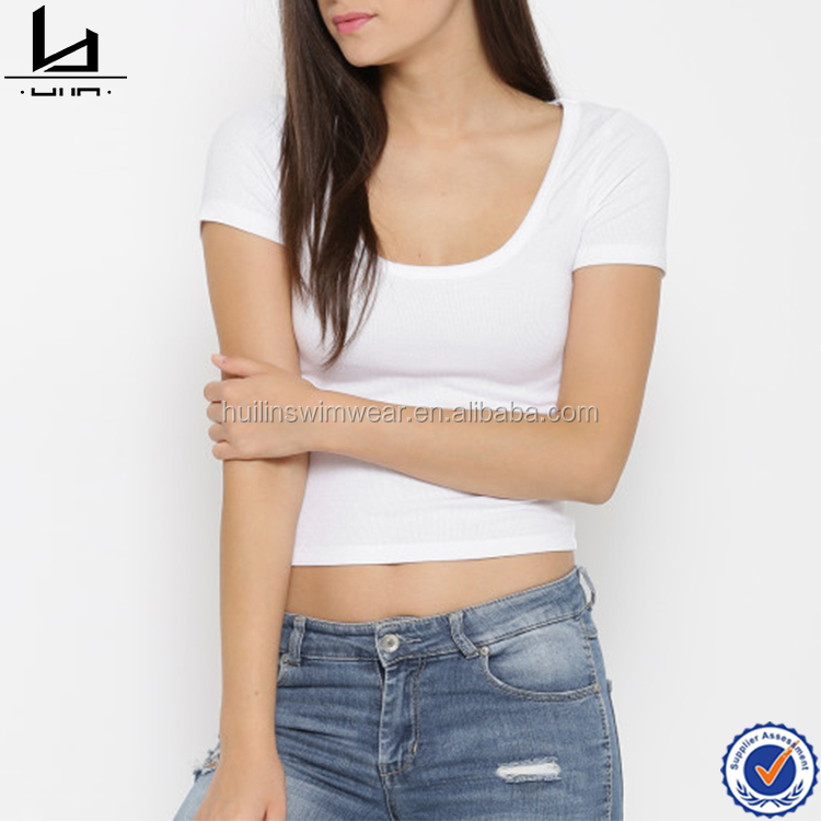 Wholesale clothing scoop neck t-shirts plain white t-shirts blank tshirts wholesale woman clothing