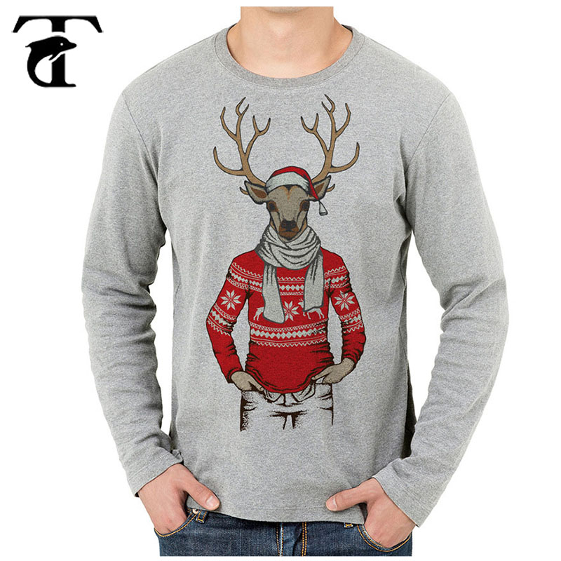 Wholesale White Long Sleeve Christmas <strong>T</strong>-<strong>Shirt</strong> Cotton Tshirt Print Tshirt Custom Print
