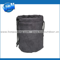 Best quality recyclable round bottom jar suede bag with drawstring