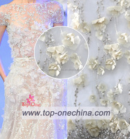 New year top fashion Applique Embroidery fabrics mesh net lace Wedding Dress lace