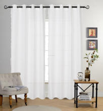 2018 white beautiful sheer curtain with lace