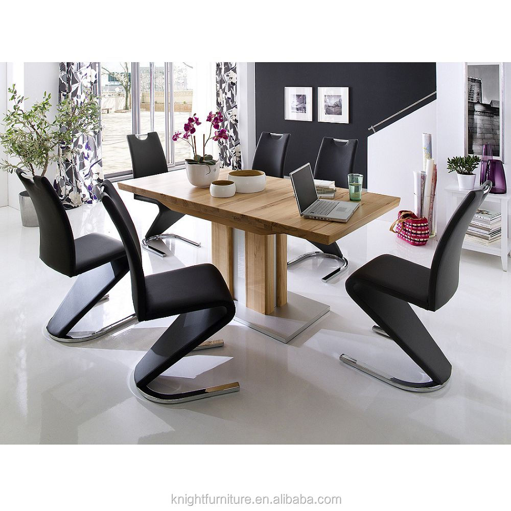 Modern High Quality Black PU Leather Chromed Z Shape Dining Chair For Dining room