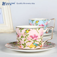 Gold Rim Print Bulk Home Use Ceramic Wholesale Tea Cup And Saucer