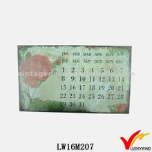 hand painted metal wall antique shabby chic calendar