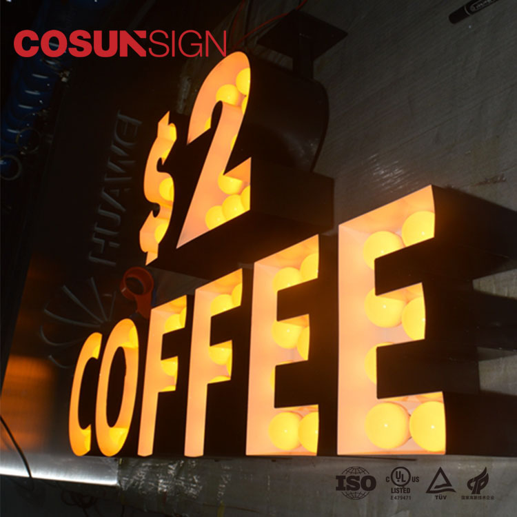 COSUN Eye Catching Metal Letters LED Sign Outdoor Big Waterproof Marquee Alphabet Letter Sign