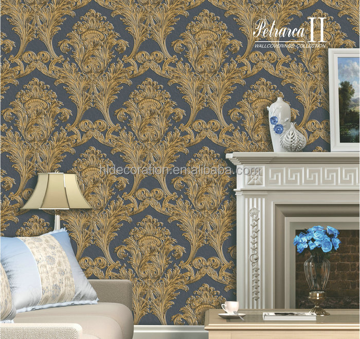 P371007 HL Decoration tridimensional big pattern damask designer 3d wallpaper walls