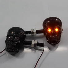 High quality Yellow Light 1 pair Universal Black Silver Motorcycle 12V 3W Skull LED Turn Signals Indicators Lights lamp