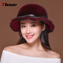 Tlove cute mult-color wide-brim winter hat/real mink fur sombrero hat for girls