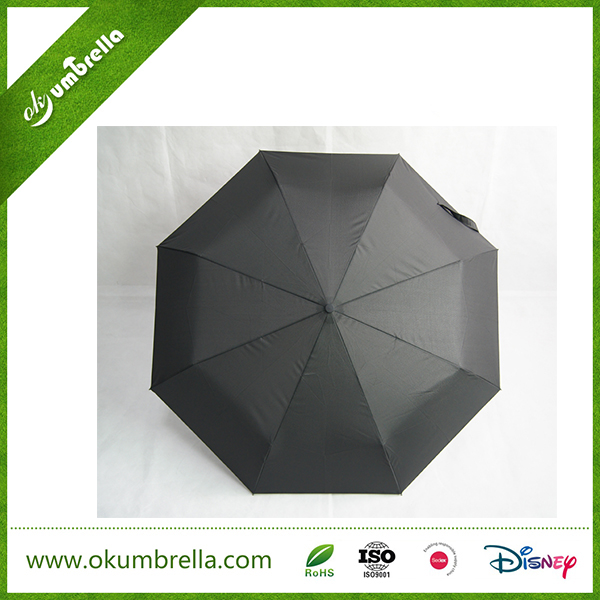 2016 fashion strong windproof black automatic 3 fold teflon travel umbrella