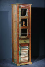 Vintage Wooden Book Shelf Cabinet with Drawers & Shutter Windows