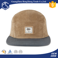 Guangzhou promotional high quality corduroy blank 5 panel hats