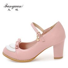 2017 hot women mary janes ankle strap buckle chunky heel pumps women party wedding footwear shoe