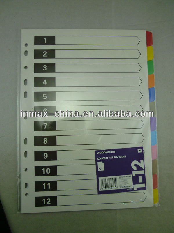 A4 paper index file divider with colorful tabs