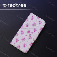 flower printing leather wallet mobile cover for girl