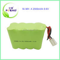 A 1.2v cells composed 8S1P 9.6v nimh rechargeable battery pack 2500mah