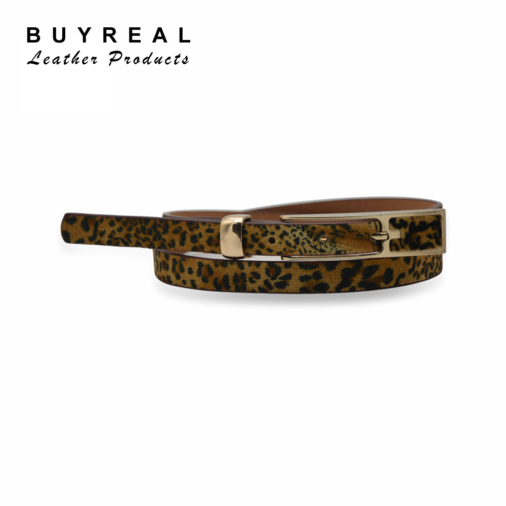 Haircloth Leopard Print Women Suede Leather Belt