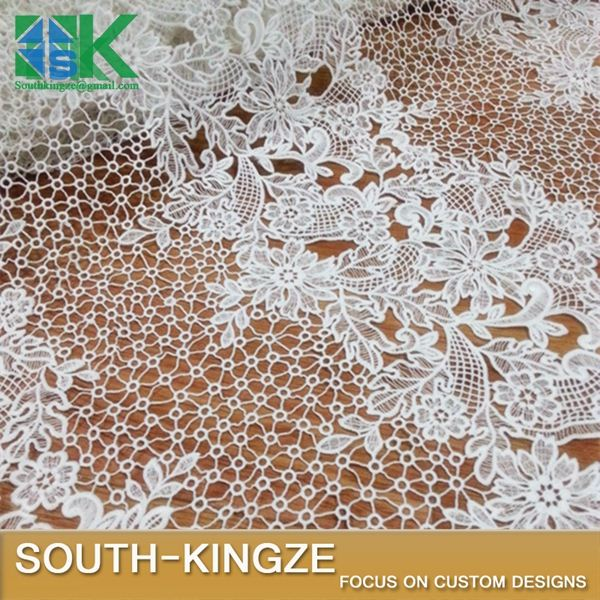 2016 fashion Lace Fabric white delicate openwork Heavy water soluble dress wedding dress fabric 2016 fashion40447