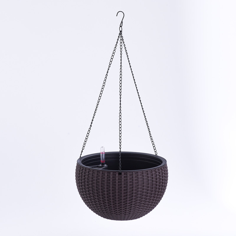Dia 13.8 in. Round Plastic Resin Garden Plant Hanging Planters Decor Pots , Brown