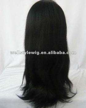 natural straight glueless lace wig