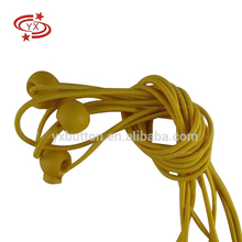 Printed logo yellow double textile elastic rope stopper with ball