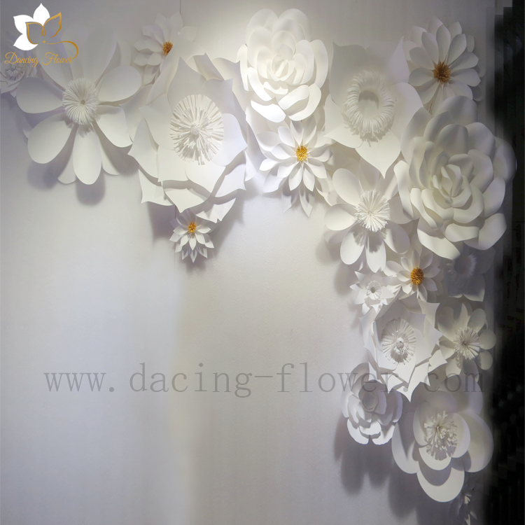Decoration wedding white paper flowers wall