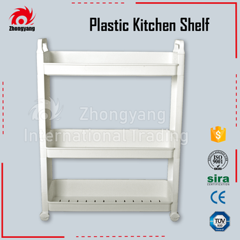 Zhongyang Household Organization 3 Tier Ivory Pure PP Plastic Kitchen Shelf Storage Rack