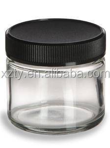 2oz clear Straight Sided Clear Glass Jar 2 oz(60ml) w/ Std Black Lid