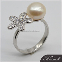 Wholesale ladies fashion style plain real pearl 925 sun silver ring
