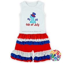 Wholesale Children's Boutique Clothing Baby American National Day Clothing Set Children's Boutique OEM Service Clothing
