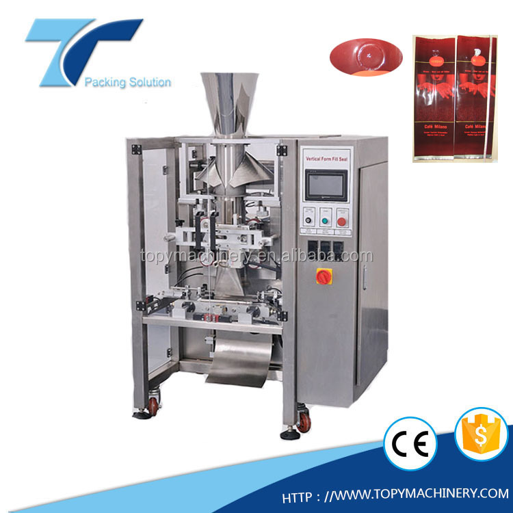 TOPY VP500,600 Automatic VFFS coffee bean and powder pouch bagger, VFFS packing machine with Thermal Coder