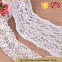 Popular design white nylon sexy lace neck trim for evening dress
