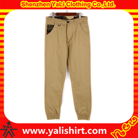 High quality wholesale mens khaki chino jogger pants trousers with elasitc bottom