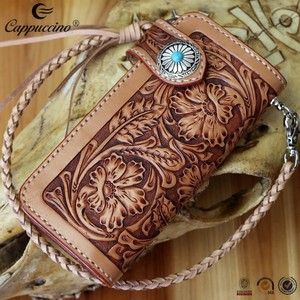 new products small quantity wholesale wallets leather, hand carved slim wrist wallet