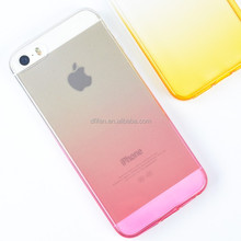 Hot products for apple iphone 5s mobile , ultra thin clear soft tpu color gradient case for iphone 5 covers