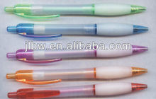 translucent white/blue/orange/green plastic ball pen with rubber grib