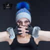 Women's Winter Cable Knitted raccoon fur Pom Pom Beanie Hat
